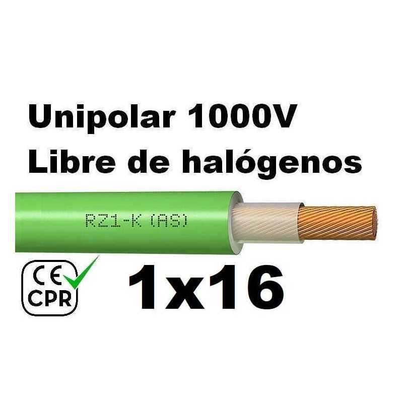Cable 1000V 1x16mm2 flexible libre halogenos RZ1-K AS 0.6/1KV CE CPR Al Corte