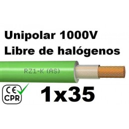Cable 1000V 1x35mm2 flexible libre halogenos RZ1-K AS 0.6/1KV CE CPR Al Corte