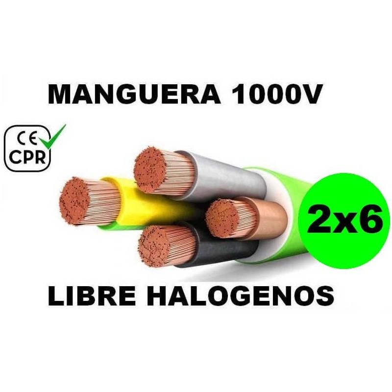 Manguera 1000v 2x6mm2 flexible libre halogenos RZ1-K AS 0.6/1KV CE CPR Al Corte