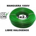 Manguera 1000v 5x2.5mm2 flexible libre halogenos RZ1-K AS 0.6/1KV CE CPR 100 Metros