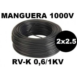 Manguera 1000v 2x2.5mm2 flexible pvc RV-K 0.6/1KV 100 Metros