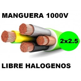Manguera 1000v 2x2.5mm2 flexible libre halogenos RZ1-K AS 0.6/1KV Al Corte