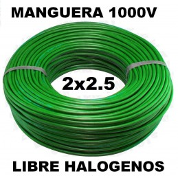 Manguera 1000v 2x2.5mm2 flexible libre halogenos RZ1-K AS 0.6/1KV 100 Metros