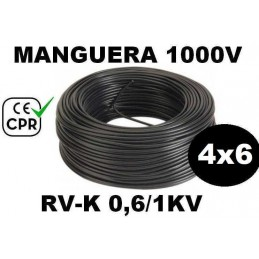 Manguera 1000v 4x6mm2 flexible pvc RV-K 0.6/1KV CE CPR 100 Metros