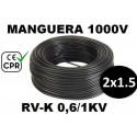 Manguera 1000v 2x1.5mm2 flexible pvc RV-K 0.6/1KV CE CPR 100 Metros