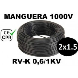 Manguera 1000v 2x1.5mm2 flexible pvc RV-K 0.6/1KV CE CPR 100 Metros