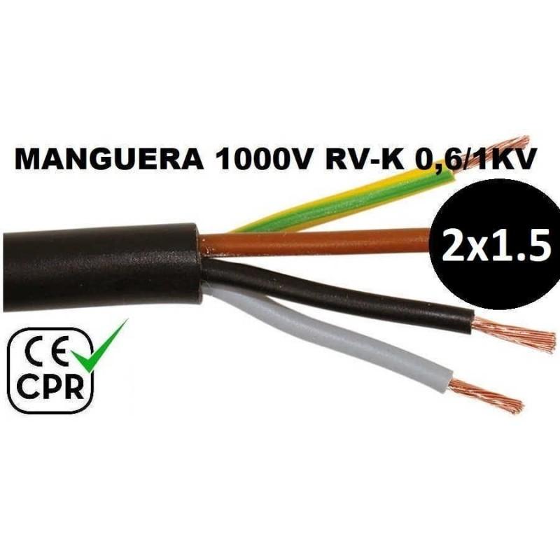 Manguera 1000v 2x1.5mm2 flexible pvc RV-K 0.6/1KV CE CPR Al Corte