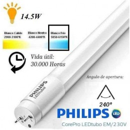 10 Tubos Led 1200mm 6500K Blanco Frio T8 G13 Philips CorePro LEDtube 14.5W/865