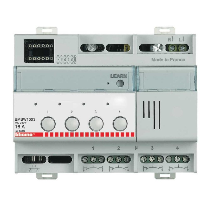 Actuador ON/OFF 4x16Amp 6DIN Bticino BMSW1003