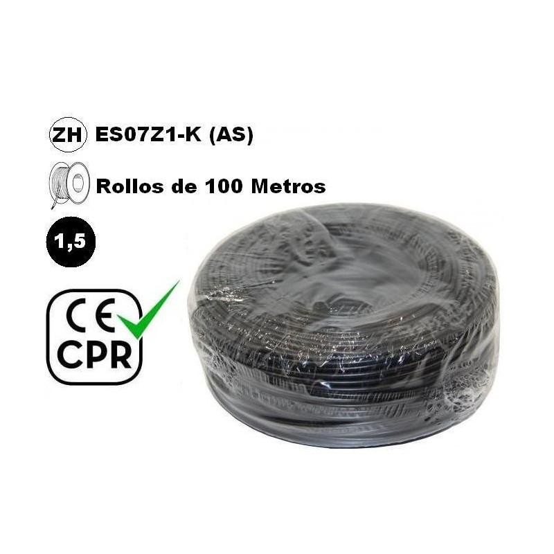 Cable flexible 1x1.5mm2 negro libre halogenos 750v CE CPR 100 Metros