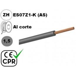 Cable flexible 1x1.5mm2 gris libre halogenos 750v CE CPR Al Corte