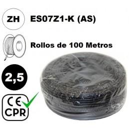 Cable flexible 1x2.5mm2 negro libre halogenos 750v CE CPR 100 Metros