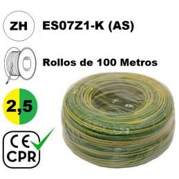Cable flexible 1x2.5mm2 tierra libre halogenos 750v CE CPR 100 Metros