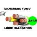 Manguera 1000v 2x1.5mm2 flexible libre halogenos RZ1-K AS 0.6/1KV CE CPR Al Corte