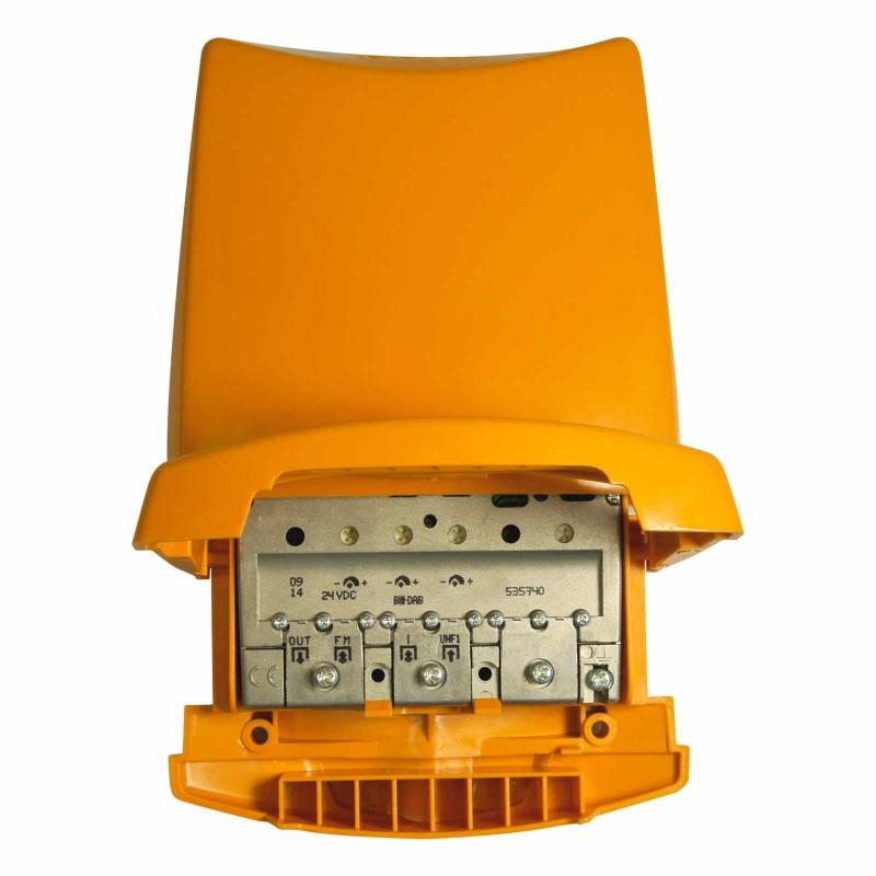 Amplificador mastil 3 Entradas 1 Salida BI/BIII+FM+UHF 25/30+15+41db Televes 5357