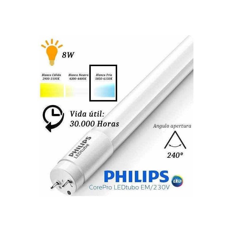 10 Tubos Led 600mm 6500K Blanco Frio T8 G13 Philips CorePro LEDtube 8W/865