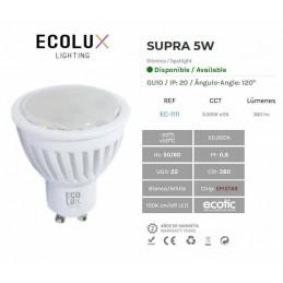 Bombilla dicroica led 5W GU10 230V 120 Grados blanco calido 3000k 380lm Ecolux EC1111