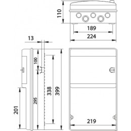 Caja automaticos superficie estanca 8 elementos+zocalo Ide CS9PT