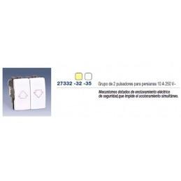 Grupo 2 pulsadores con enclavamiento para persiana marfil Simon 27332-32