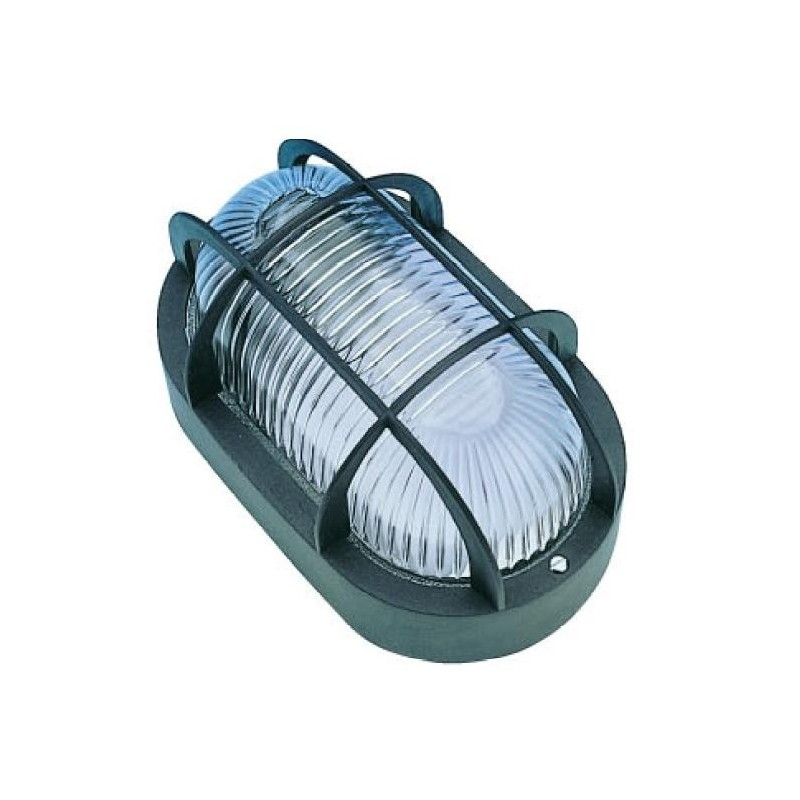 Plafon estanco 60W E-27 oval negro IP44