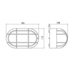 Plafon estanco 60W E-27 oval negro IP44