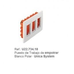 Puesto de trabajo empotrar 3 filas blanco Eunea U22.734.18