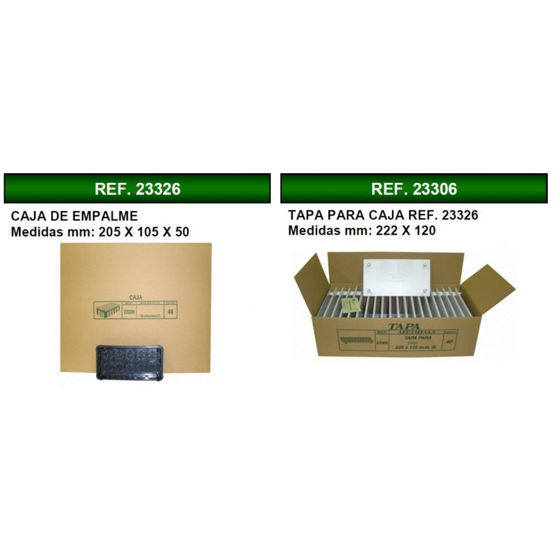 40 Cajas de registro de empotrar 100x200x50mm con tapa Seavi