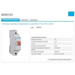 Magnetotermico estrecho 1P+N 10A Curva C 6KA Hager MN910V