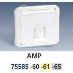 Tecla para 1 conector AMP ancha gris Serie 75 Simon 75585-65