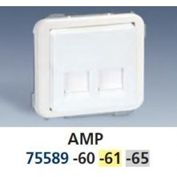 Tecla para 2 conectores AMP ancha marfil Serie 75 Simon 75589-61