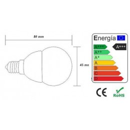 Bombilla led esferica 3w 230v e14 370lum luz blanco calido 2900-3100k Agfri 6053