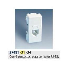 Toma de telefono RJ-12 6 contactos estrecha marfil Simon 27481-31