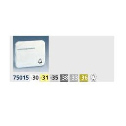 Tecla pulsador timbre simbolo campana con visor ancha aluminio mate Serie 75 Simon 75015-33