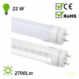 Tubo LED 1500mm 22W Luz Blanco Neutro tapa blanca giratorio 140 Grados Agfri 8092