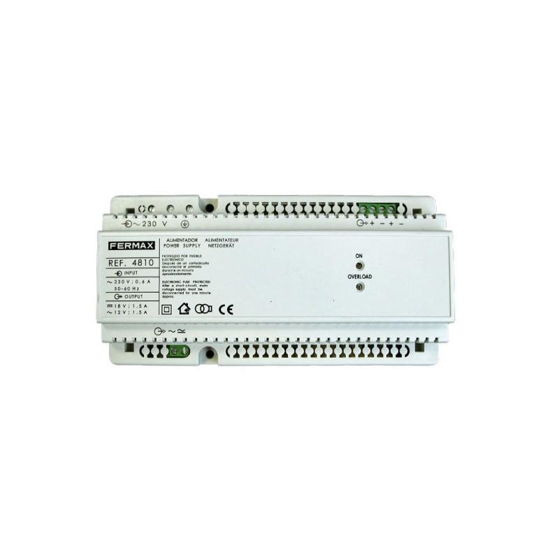 Alimentador DIN10 230Vac 12Vac+18Vdc 1.5A Fermax 4810