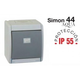 Caja estanca Simon 44 Aqua con tecla simple IP55 para mecanismos Simon 27