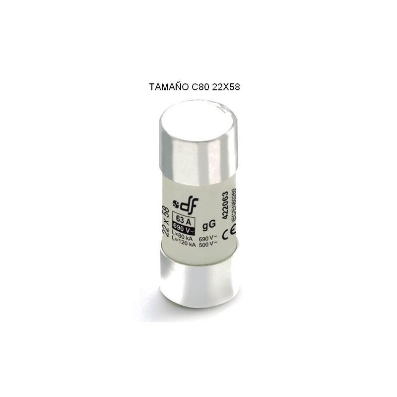 Fusible cartucho C80 63Amp 22x58 cilindrico ceramico