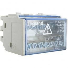 Repartidor riel 2P 100A 4 Modulos 7 Conexiones Legrand 4880