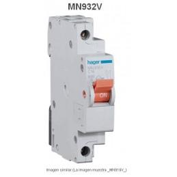 Magnetotermico estrecho 1P+N 32A Curva C 6KA Hager MN932V