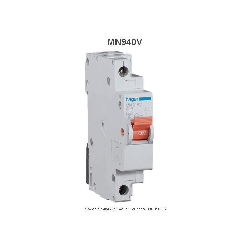 Magnetotermico estrecho 1P+N 40A Curva C 6KA  Hager MN940V