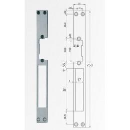 Armadura larga para cerradura electrica para puertas de aluminio