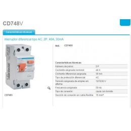 Interruptor Diferencial 2P 40A 30mA Hager CD748V