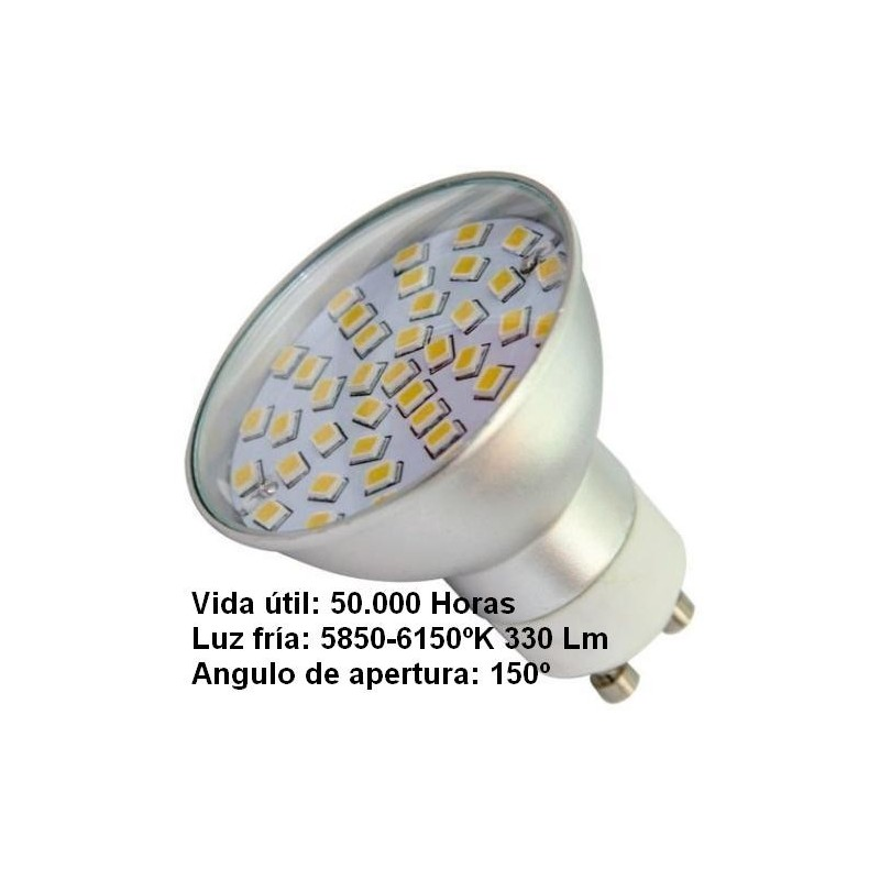 Bombilla dicroica led 4.5w gu10 230v 150º blanco frio 5700k 330lm Agfri 2101