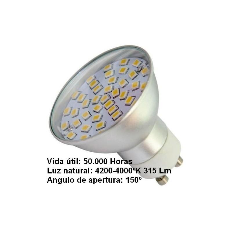 Bombilla dicroica led 4.5w gu10 230v 150º blanco neutro 4100k 315lm Agfri 2102