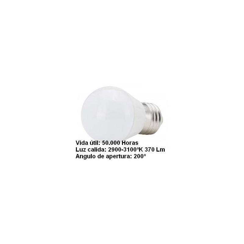 Bombilla led esferica 3w 230v e27 405lum luz blanco calido 2900-3100k Agfri 6063