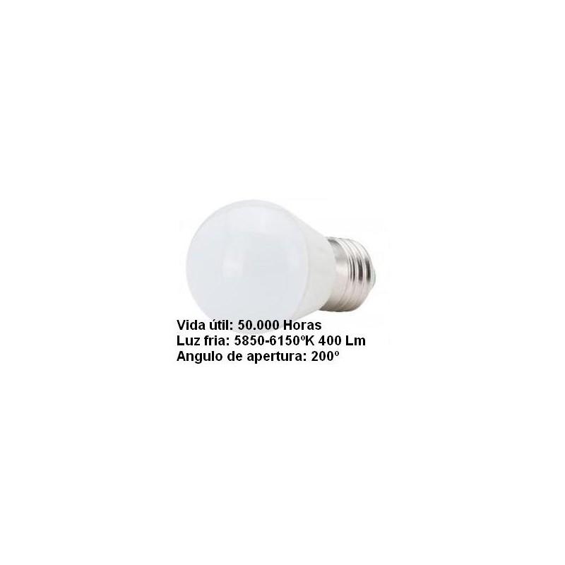 Bombilla led esferica 3w 230v e27 400lum luz blanco frio 5850-6150k Agfri 6061