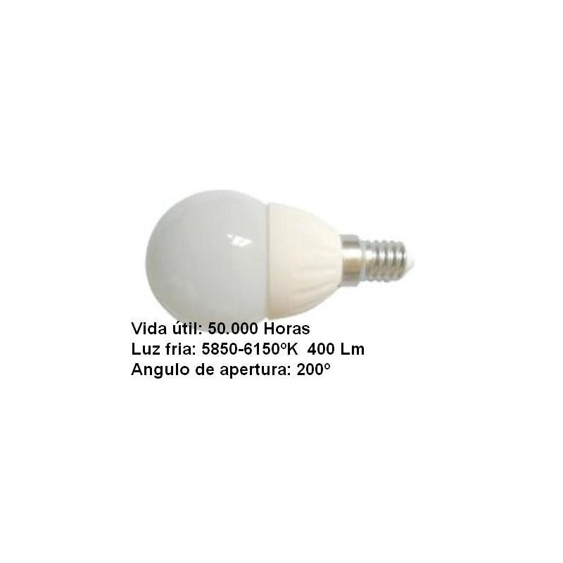 Bombilla led esferica 3w 230v e14 435lum luz blanco frio 5700-6200k Agfri 6051