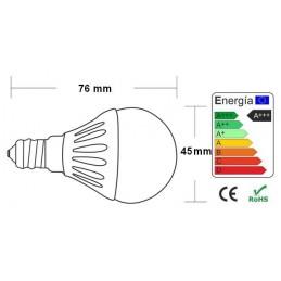 Bombilla led esferica 5w 230v e14 600lum luz blanco frio 5850-6150k Agfri 6054