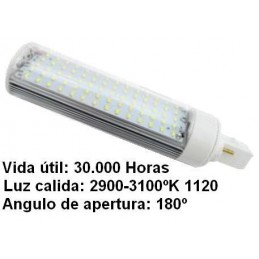 Bombilla led pl G24 7w 230v 180 Grados blanco calido 2900-3100k 1120lm Bdt-Led PL7106