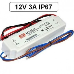 Fuente alimentacion 12V DC 3A 36W IP67 Mean Well LPV-35-12